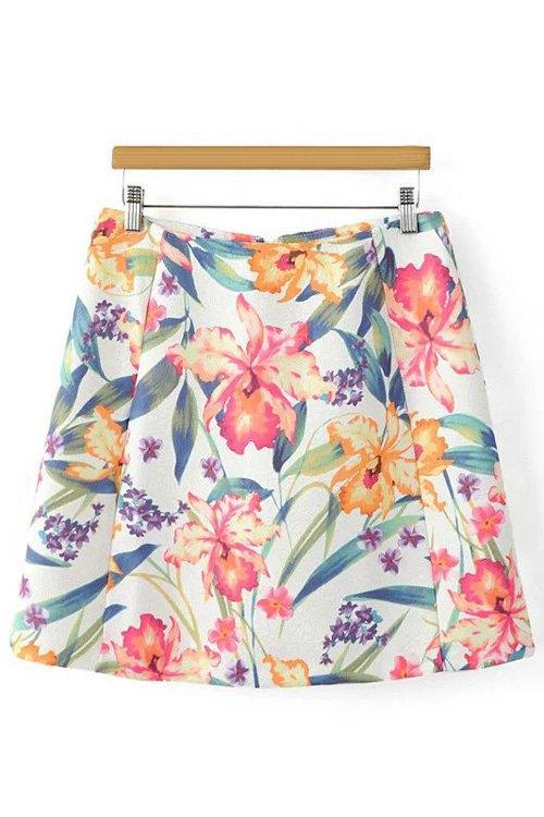 High Waist A-Line Floral Print Skirt