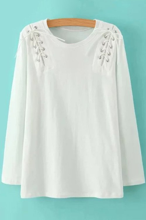 Buy Solid Color Lace-Up Round Neck Long Sleeve T-Shirt WHITE L