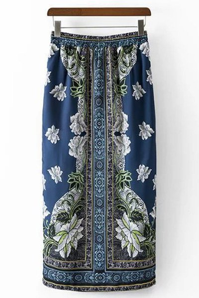 High Waist Ethnic Style Printed Skirt