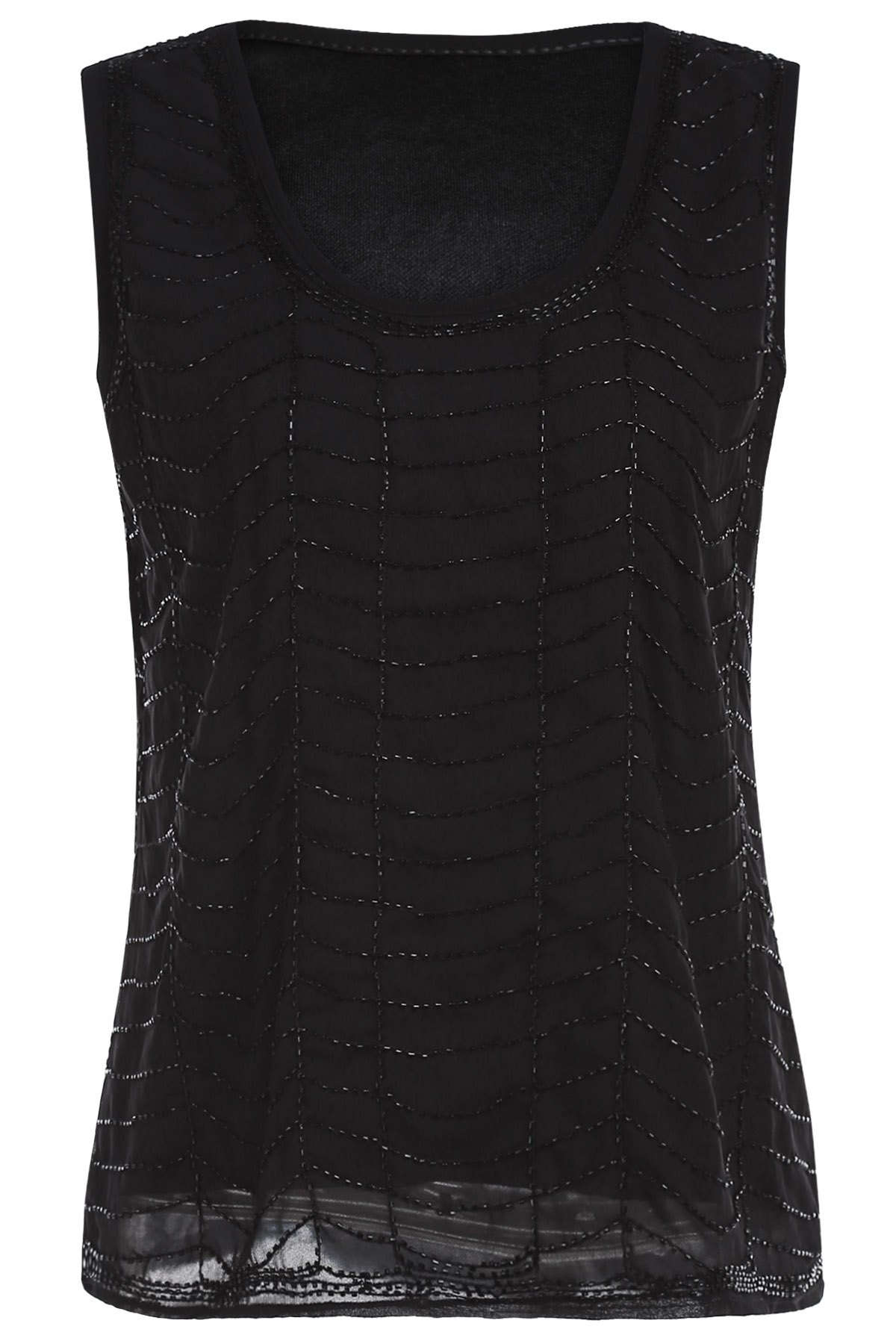 Buy Black Beaded Round Neck Tank Top BLACK ONE SIZE(FIT SIZE XS TO M)