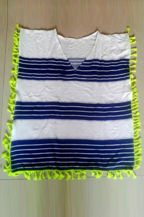 V-Neck Sleeveless Striped Cover Up