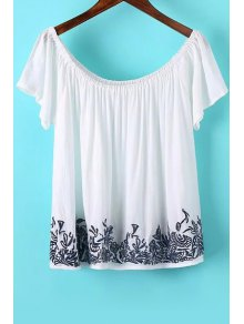 Off The Shoulder Embroidered Short Sleeve T-Shirt