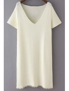 Solid Color Fitting Plunging Neck Short Sleeve Dress
