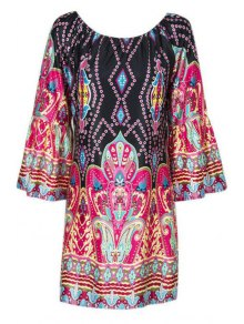 Flare Sleeve Printed Peasant Dress