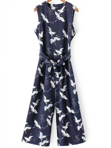 Printed Round Collar Sleeveless Belted Jumpsuit