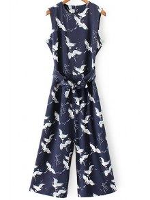 Printed Round Collar Sleeveless Belted Jumpsuit - Purplish Blue S