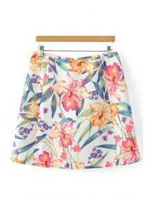 Floral PrintHigh Waist A-Line  Skirt