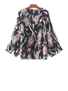 Buy Feather Print Round Collar Long Sleeve Blouse - PURPLISH BLUE ONE SIZE(FIT SIZE XS TO M)