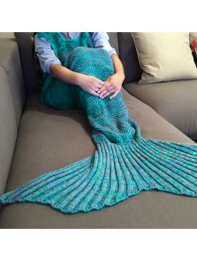 Knitted Mermaid Design Sleeping Bag Blanket - Lake Blue