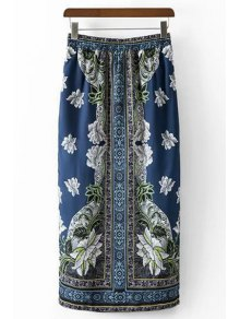 Ethnic Style Printed High Waist Skirt