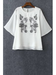 Embroidered Round Neck Bat-Wing Sleeve Chiffon Blouse