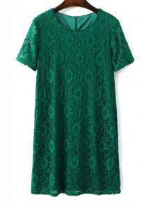 Solid Color Short Sleeve Round Collar Lace Dress
