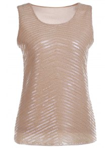 Geometric Sequined Round Neck Tank Top - Apricot
