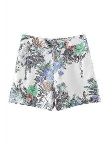 Printed Casual Pockets Shorts - White