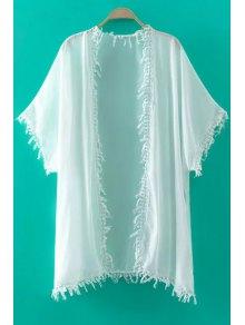 Buy Tassels Spliced Half Sleeve Kimono Blouse - WHITE L