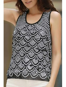 Wavy Beaded Sequined Round Neck Tank Top