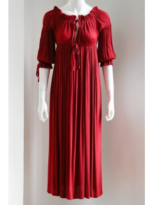 Drawstring 3/4 Sleeve Red Dress