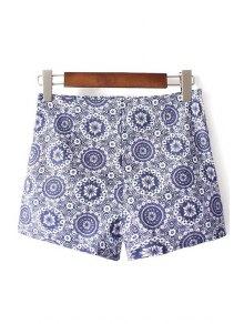 Ethnic Style Printed High Waist Shorts - Blue