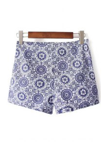 Ethnic Style Printed High Waist Shorts
