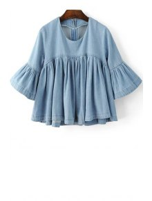Flounce Ruffles Round Neck Flare Sleeve Denim Blouse - Blue L