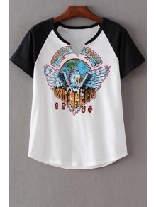 Eagle Print Round Neck Short Sleeve T-Shirt