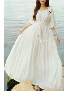 Lace Up Scoop Neck Half Sleeve Maxi Dress - White