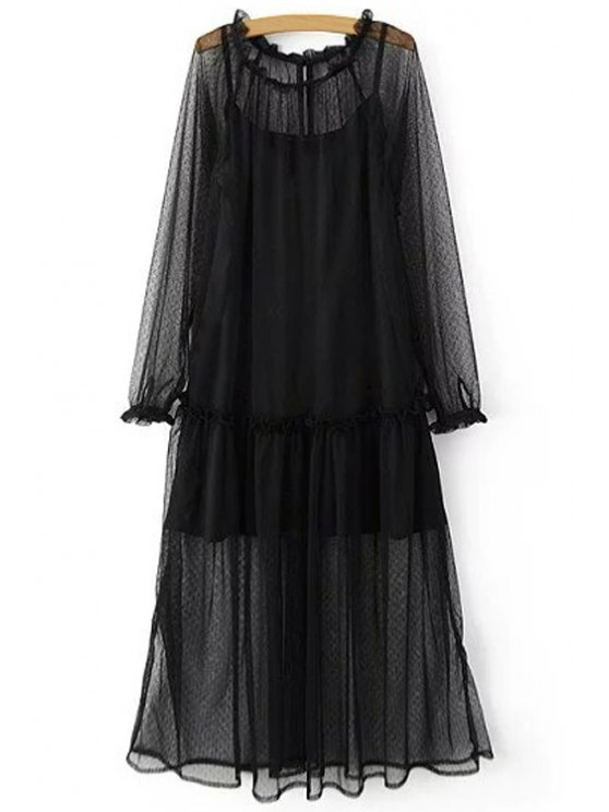 shop Sheer Mesh Dress and Cami Slip Dress Twinset - BLACK S