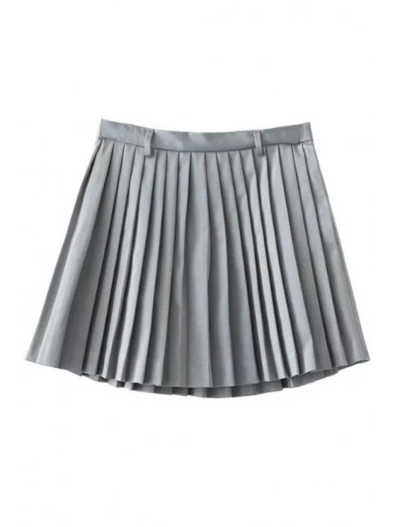 Pleated A-Line Mini Skirt - GRAY M Mobile