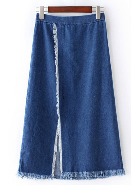 online Front Slit Frayed Denim Skirt - BLUE M