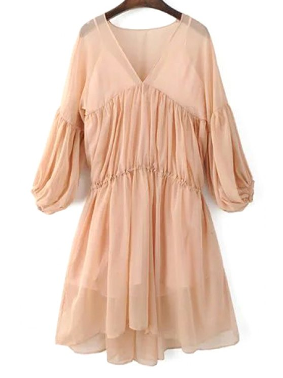 La linterna de la manga vestido de malla y Cami vestido de Twinset - Rosa S