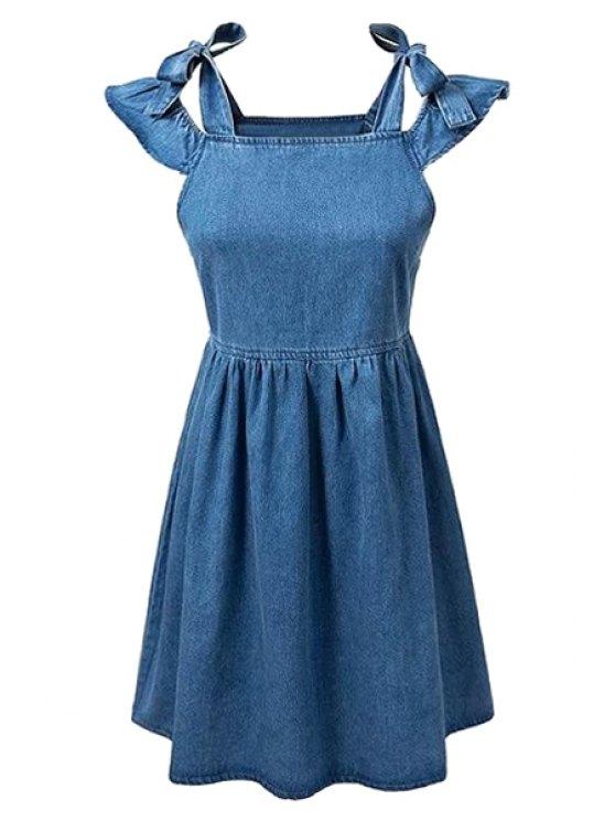 fancy Square Neck Ruffle Sleeve Denim Dress - BLUE S