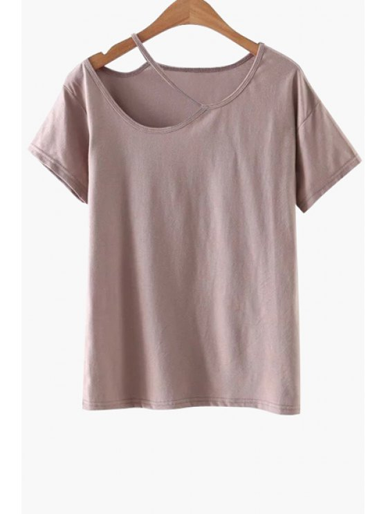 latest Solid Color Cut-Out T-Shirt - PINK M
