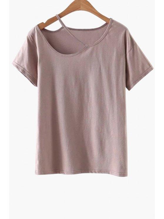 Sólido Color-cut la camiseta - Rosa S