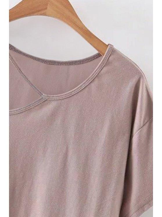 Solid Color Cut-Out T-Shirt - PINK L Mobile