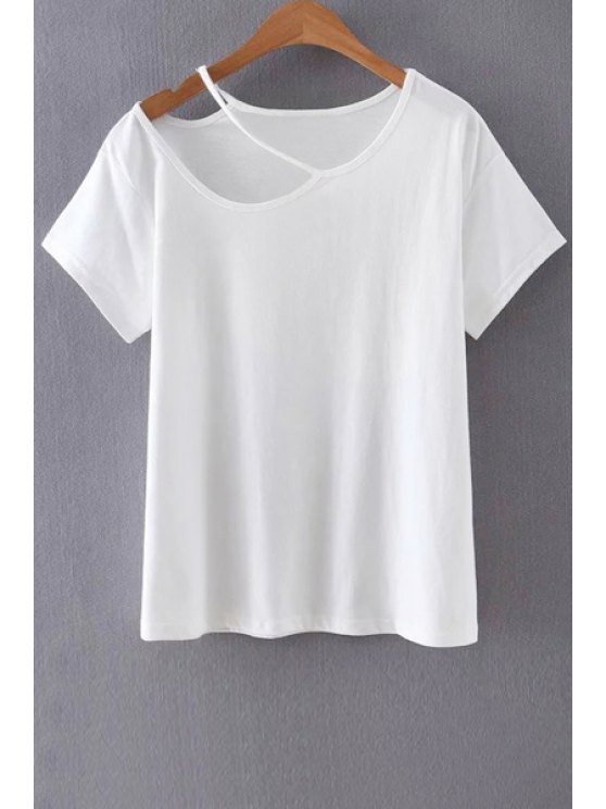 outfit Solid Color Cut-Out T-Shirt - WHITE S
