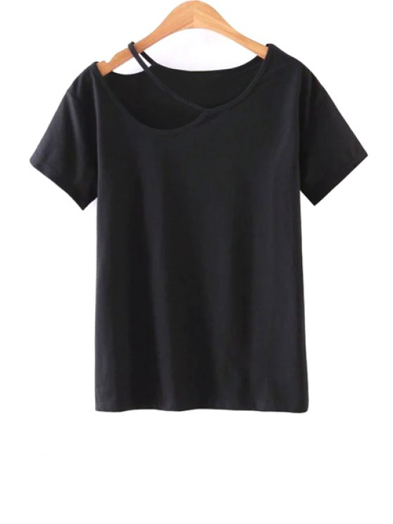 Solid Color Cut-Out T-Shirt - BLACK M Mobile