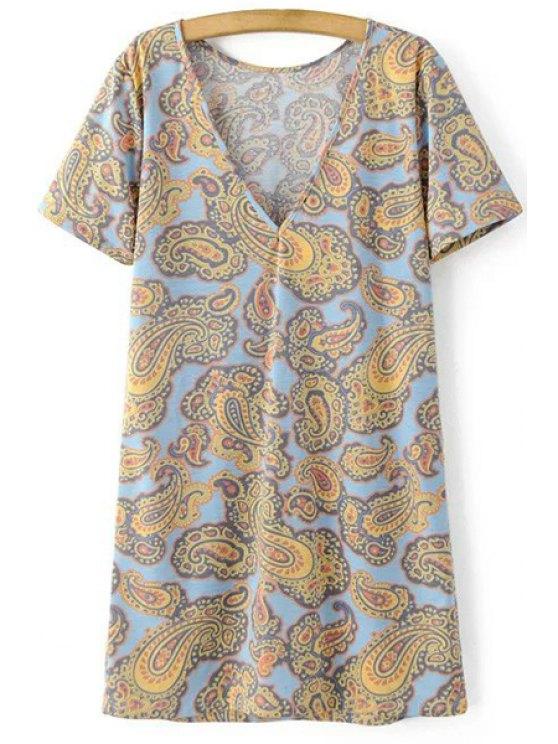 V-Back Paisley Print Tee Dress - COLORMIX L Mobile