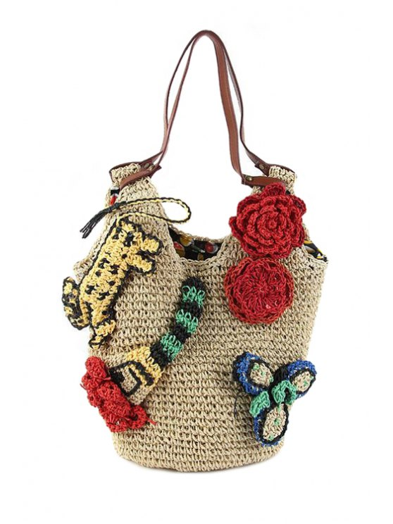 trendy Straw Flower Knitted Shoulder Bag - BEIGE