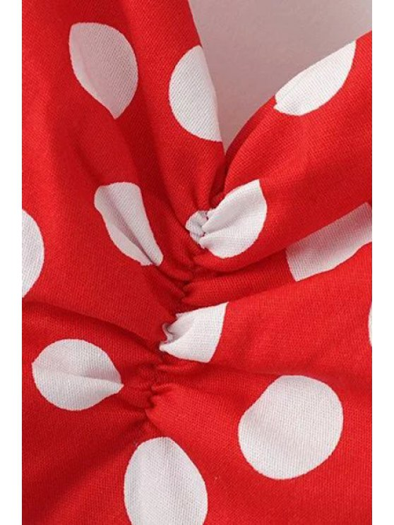 Polka Dot Print Halter Neck A Line Dress - BLACK XL Mobile