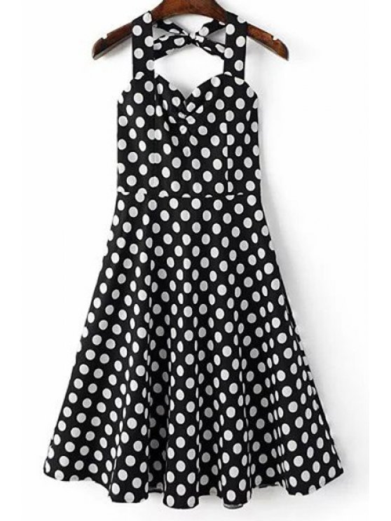 unique Polka Dot Print Halter Neck A Line Dress - BLACK XL