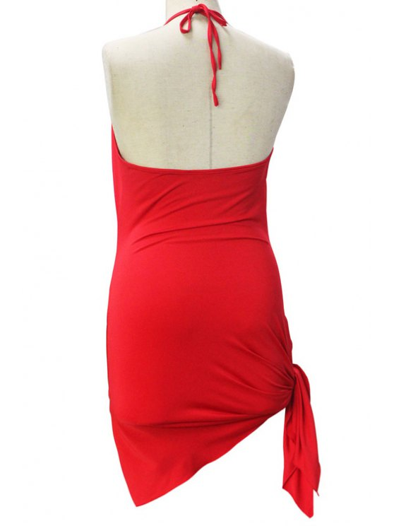 Backless Irregular Hem Halter Asymmetrical Bodycon Dress - RED S Mobile