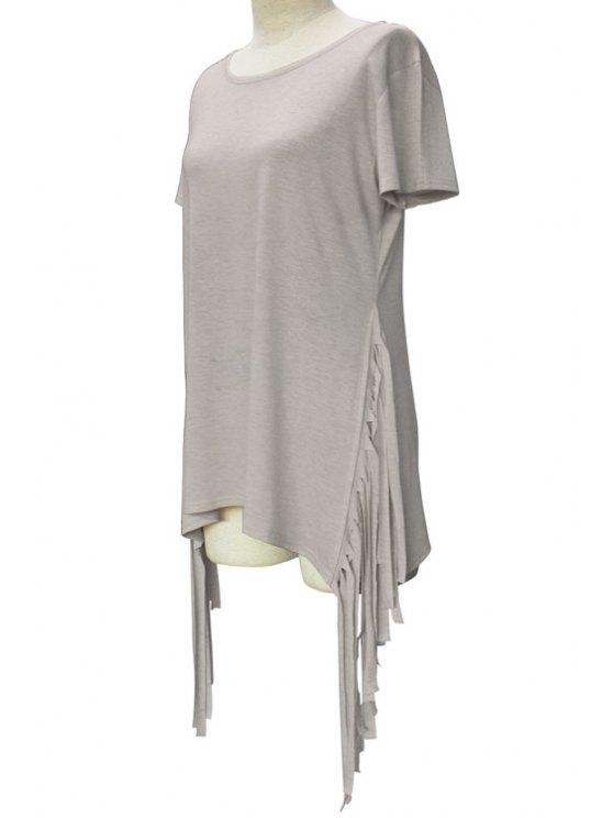 women's Short Sleeve Tassels Spliced Round Collar T-Shirt - LIGHT GRAY XL