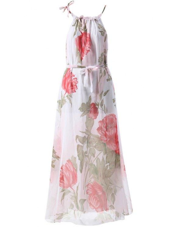 fancy Floral Print Sleeveless Round Collar Maxi Dress - WHITE S