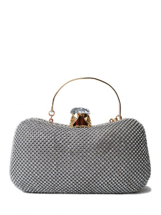 shop Rhinestone Metal Solid Color Evening Bag - SILVER