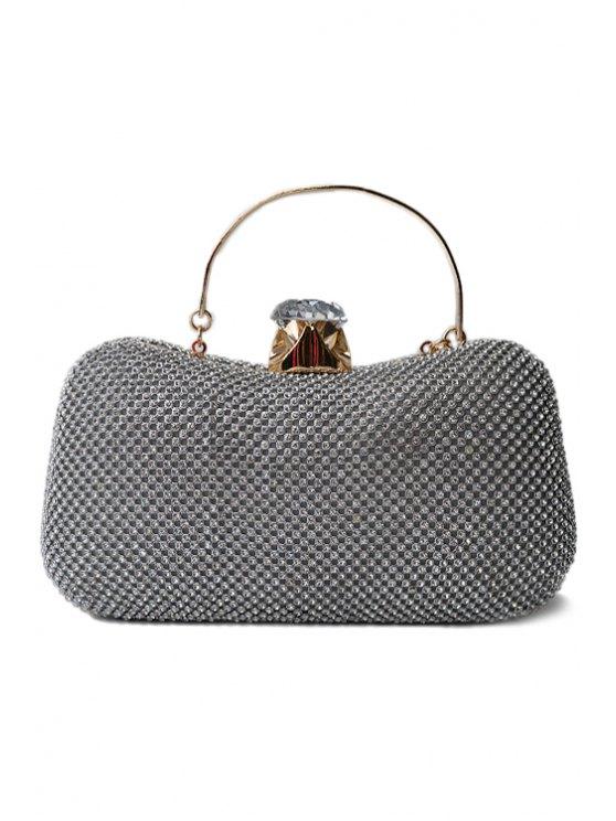 Rhinestone Metal Solid Color Evening Bag - SILVER  Mobile