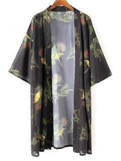 Kimono Sleeve Bird Print Chiffon Blouse - Black M