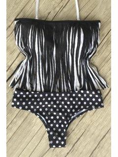 Polka Dot Tassels Splicing Bikini Set - Black L