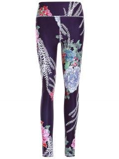 Sporty Floral Pantalons Imprimer Minceur Femmes - Noir S