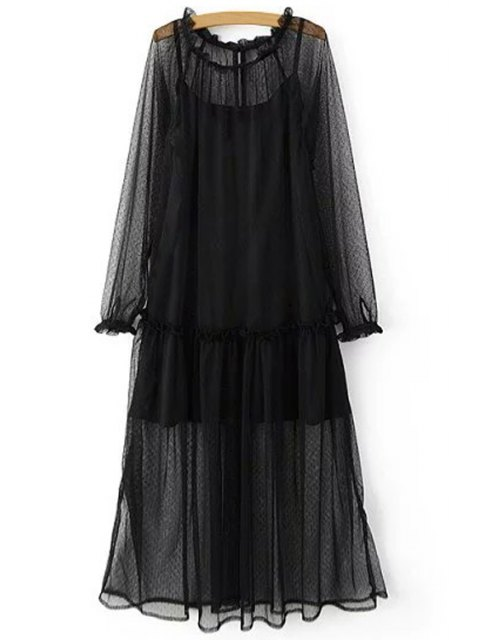 shop Sheer Mesh Dress and Cami Slip Dress Twinset - BLACK S Mobile