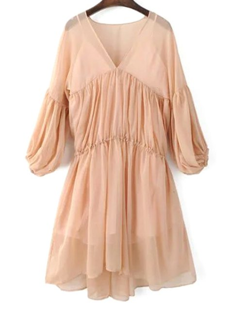 trendy Lantern Sleeve Mesh Dress and Cami Dress Twinset - PINK S Mobile